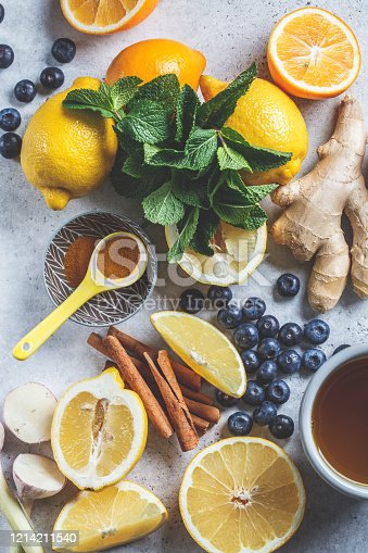 Healthy ingredients for cooking turmeric, ginger and lemon tea and raising immunity, top view.