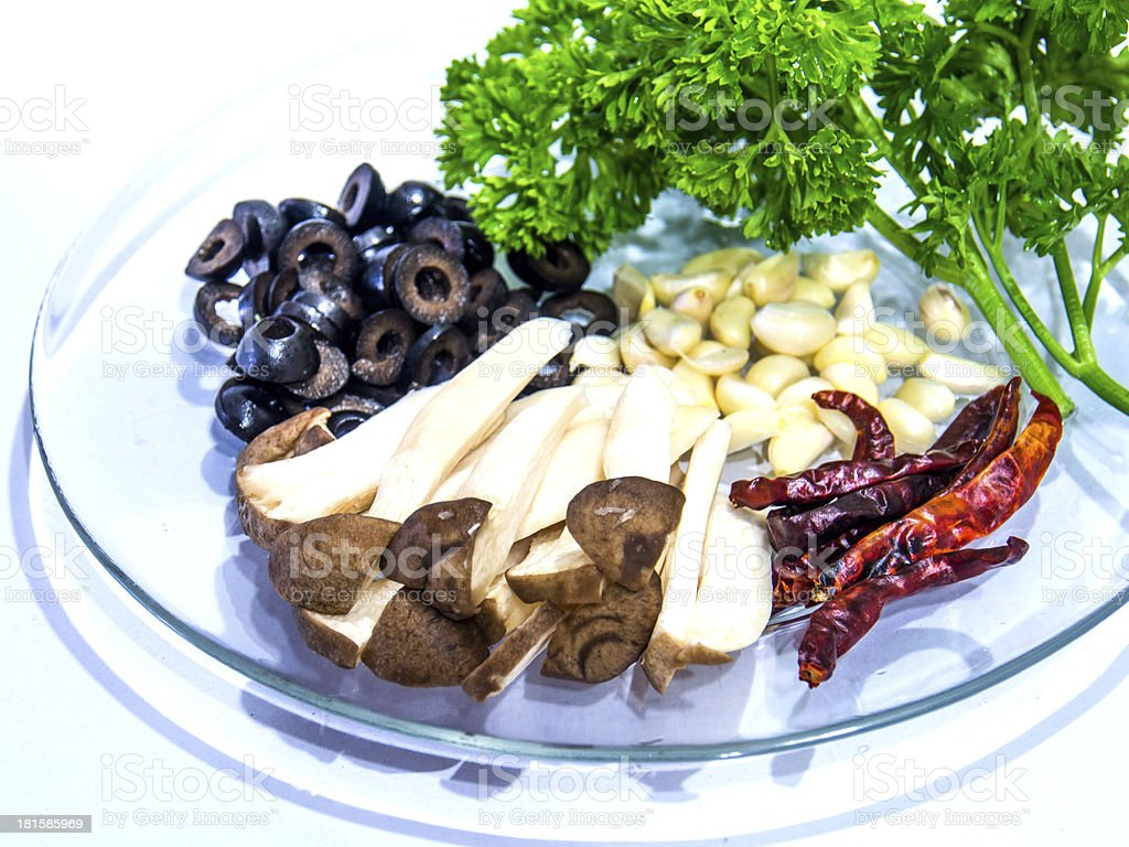 healthy ingredients of Spaghetti black olive pepper royalty-free stock photo