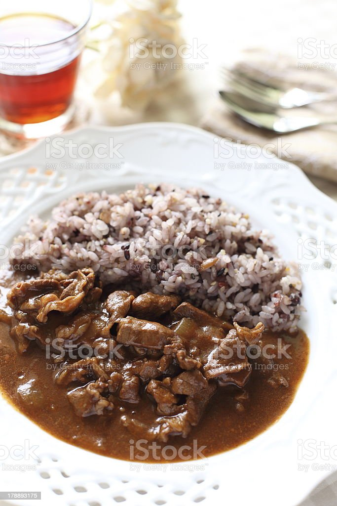 Healthy Japanese cuisine, Gokoku rice and beef stew stock photo
