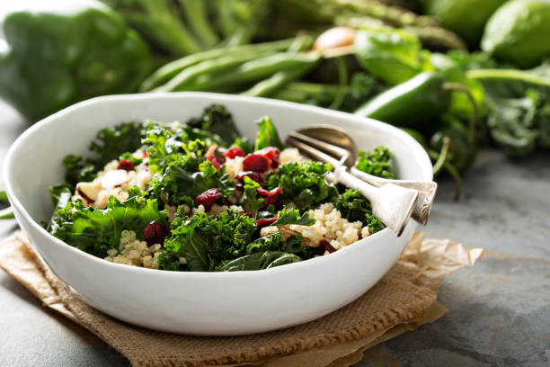 Healthy kale and quinoa salad stock photo