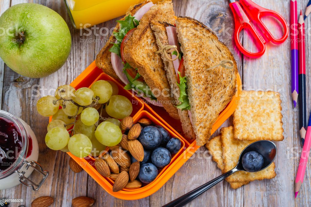 Healthy kids lunchbox stock photo