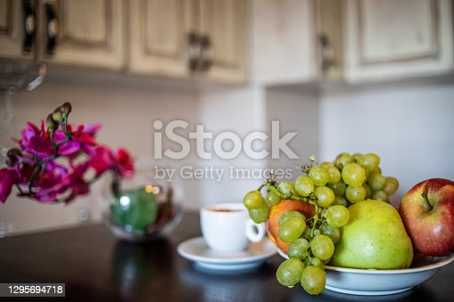 The morning begins with warm coffee and fruit