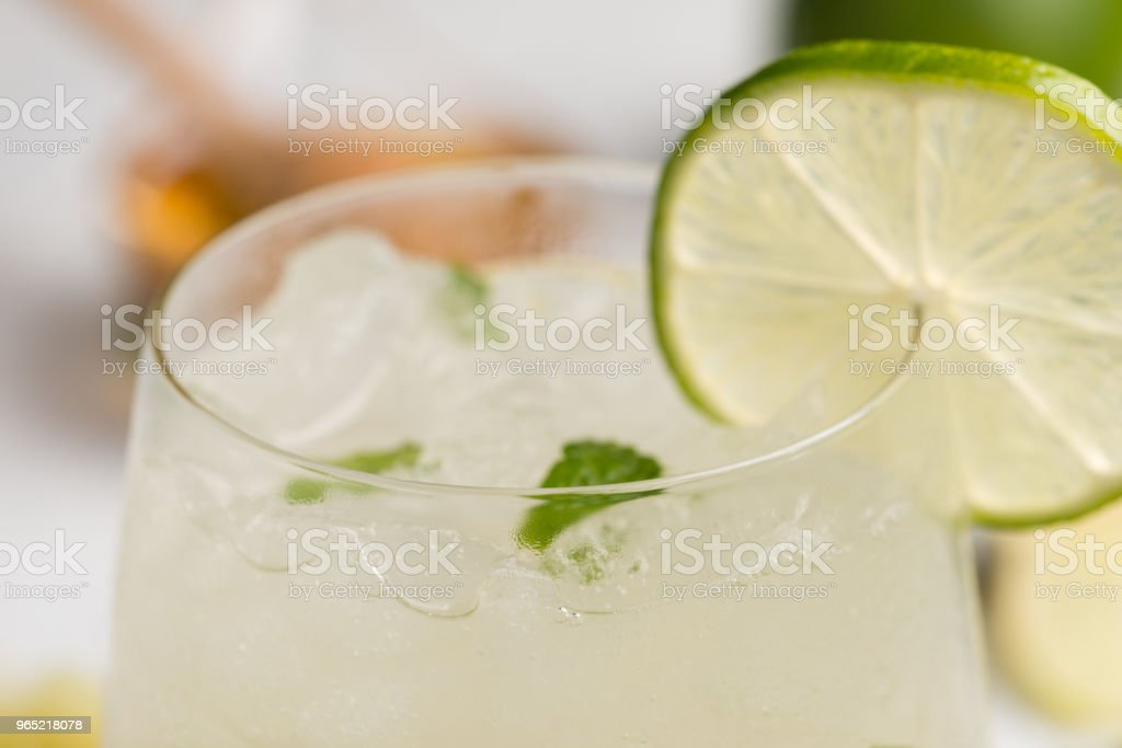 healthy lemonade lime with mint and ice in a glass royalty-free stock photo