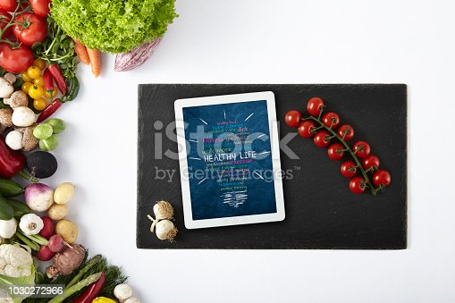 Healthy Life Words, Cut Out Screen, Digital Tablet, Clipping Path, Cherry Tomato, Black Screen, Vegetables Frame, Stone, Cutting Board