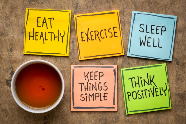 healthy lifestyle and wellbeing concept healthy lifestyle and wellbeing concept - a set of inspirational reminder notes with a cup of tea: eat healthy, exercise, seep well, keep things simple, think positively wellbeing stock pictures, royalty-free photos & images