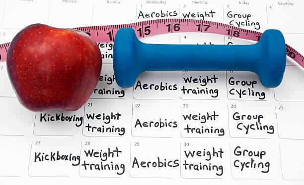 healthy lifestyle calendar - calendar workout bildbanksfoton och bilder