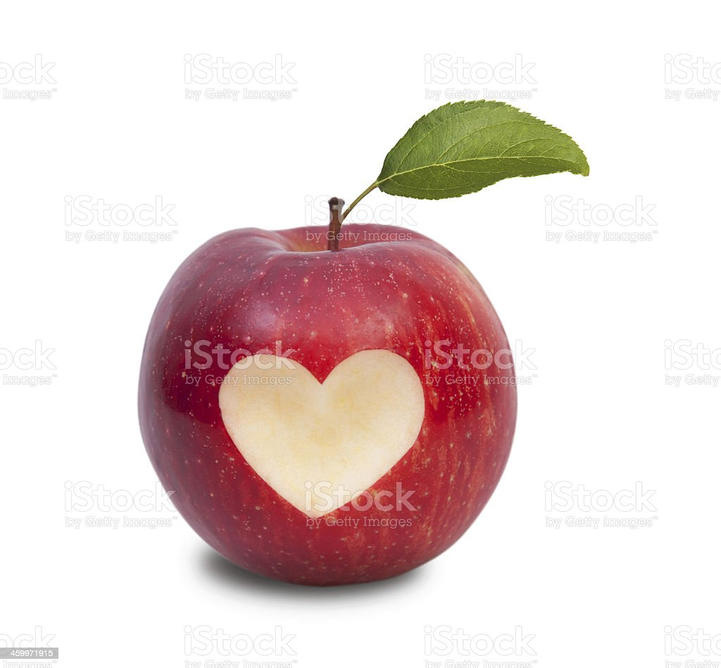 Healthy lifestyle concept apple with heart symbol and leaf stock photo