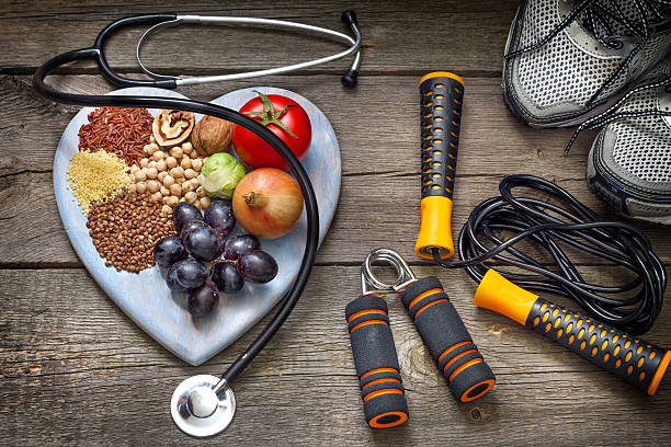 healthy lifestyle concept with diet and fitness - healthy lifestyle stock photos and pictures