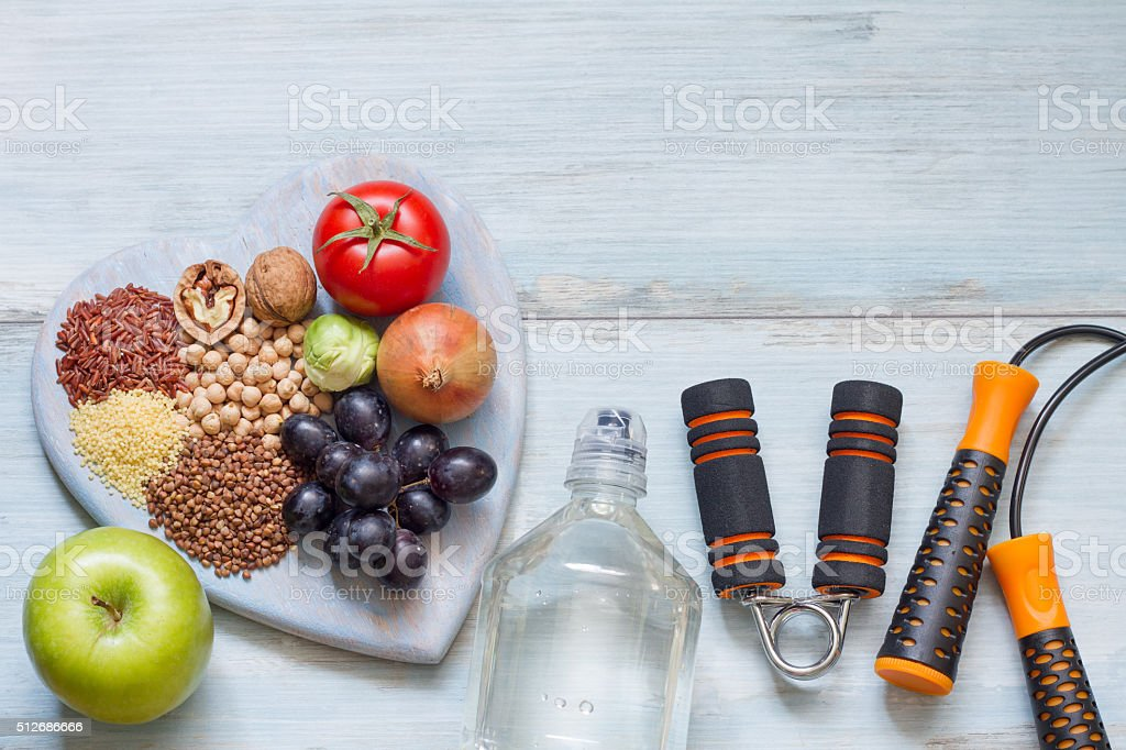 healthy lifestyle concept with diet and fitness royaltyfree stock photo