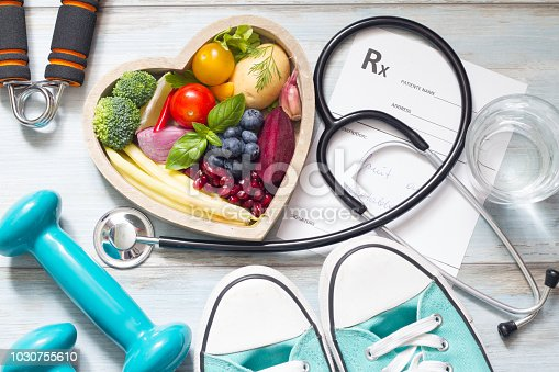istock Healthy lifestyle concept with diet  fitness and medicine 1030755610