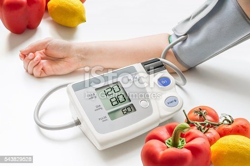 istock Healthy lifestyle concept. Woman is measuring blood pressure with monitor. 543829528