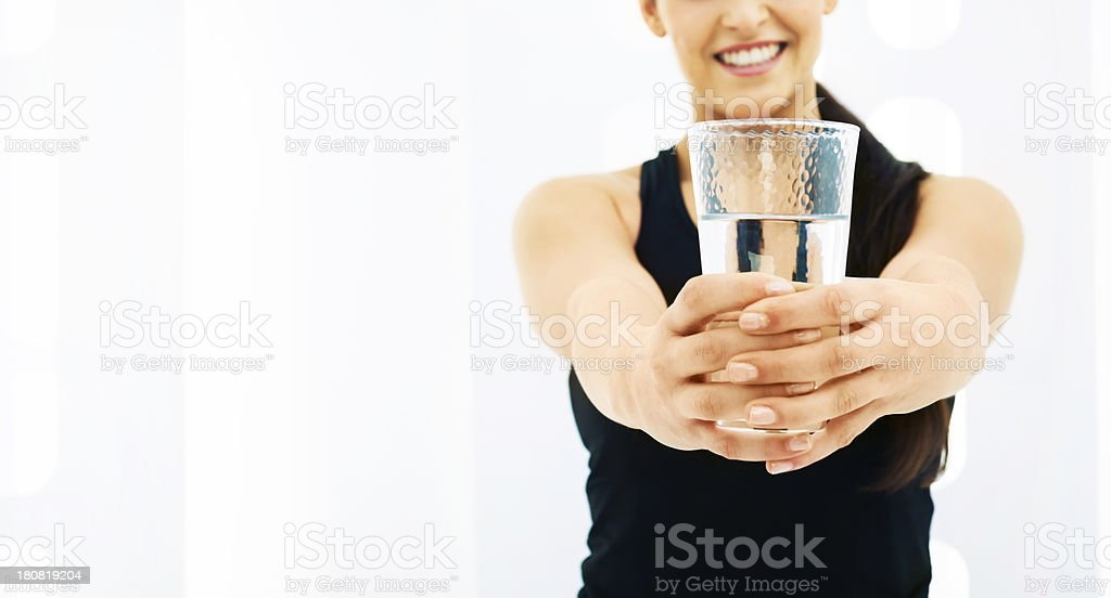 Healthy lifestyle: drinking fresh water royalty-free stock photo