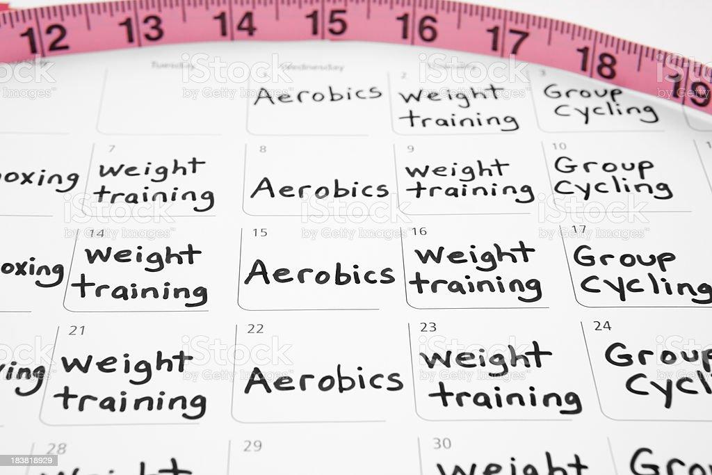 Healthy Lifestyle: Exercise Schedule on Calendar - Royaltyfri Aerobics Bildbanksbilder