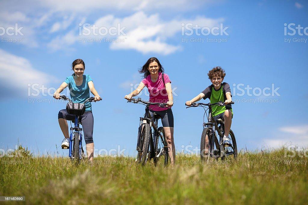 Healthy lifestyle - family biking royalty-free stock photo
