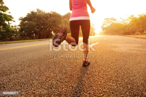 494003079 istock photo healthy lifestyle fitness sports woman  running at driveway 485998971
