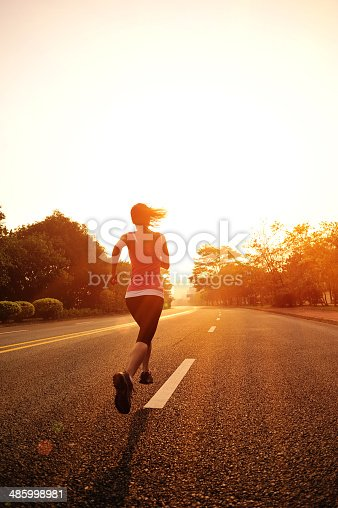 494003079 istock photo healthy lifestyle fitness sports woman  running at driveway 485998981