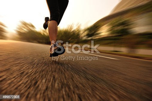 494003079 istock photo healthy lifestyle fitness sports woman  running at road 499572303