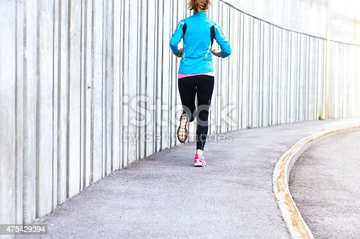 476391546istockphoto Healthy lifestyle fitness sports woman running in the city 475429394