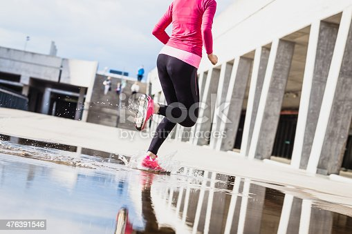 476391546 istock photo Healthy lifestyle fitness sports woman running in the city 476391546
