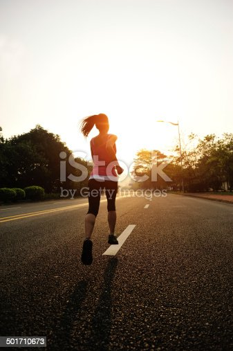istock healthy lifestyle fitness sports woman running on road 501710673