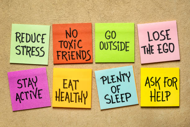 healthy lifestyle habits - colorful reminder notes stock photo