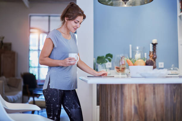 Healthy lifestyle in kitchen. stock photo