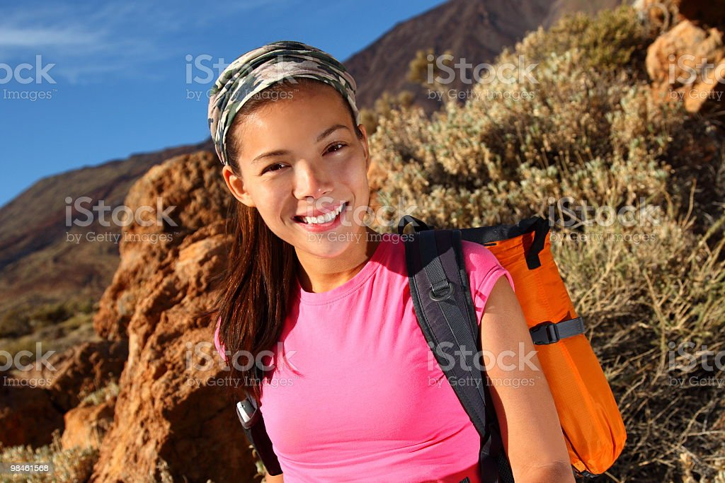 Healthy lifestyle - Woman hiking royalty-free stock photo