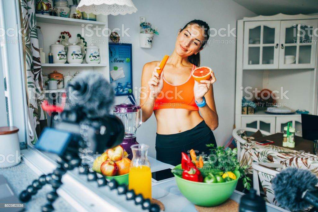 Healthy lifetyle vlog stock photo