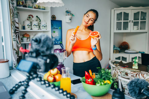 Healthy lifetyle vlog stock photo