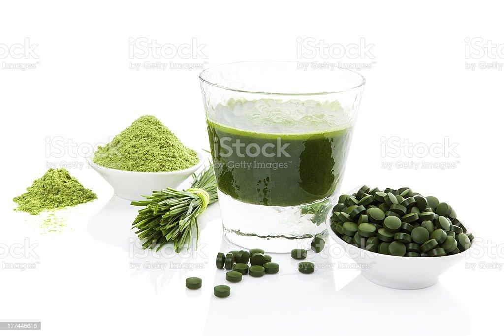 Healthy living. Spirulina, chlorella and wheatgrass. stock photo