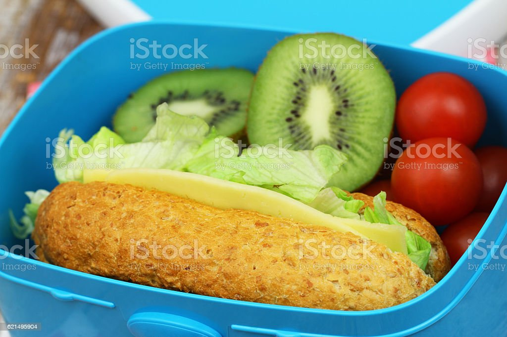 Healthy lunch box containing whole grain cheese sandwich, tomatoes, fruit foto stock royalty-free
