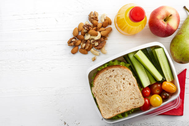 healthy lunch box - serving size stock photos and pictures