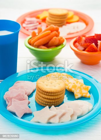 Healthy Lunch for Children on Bright Plates
