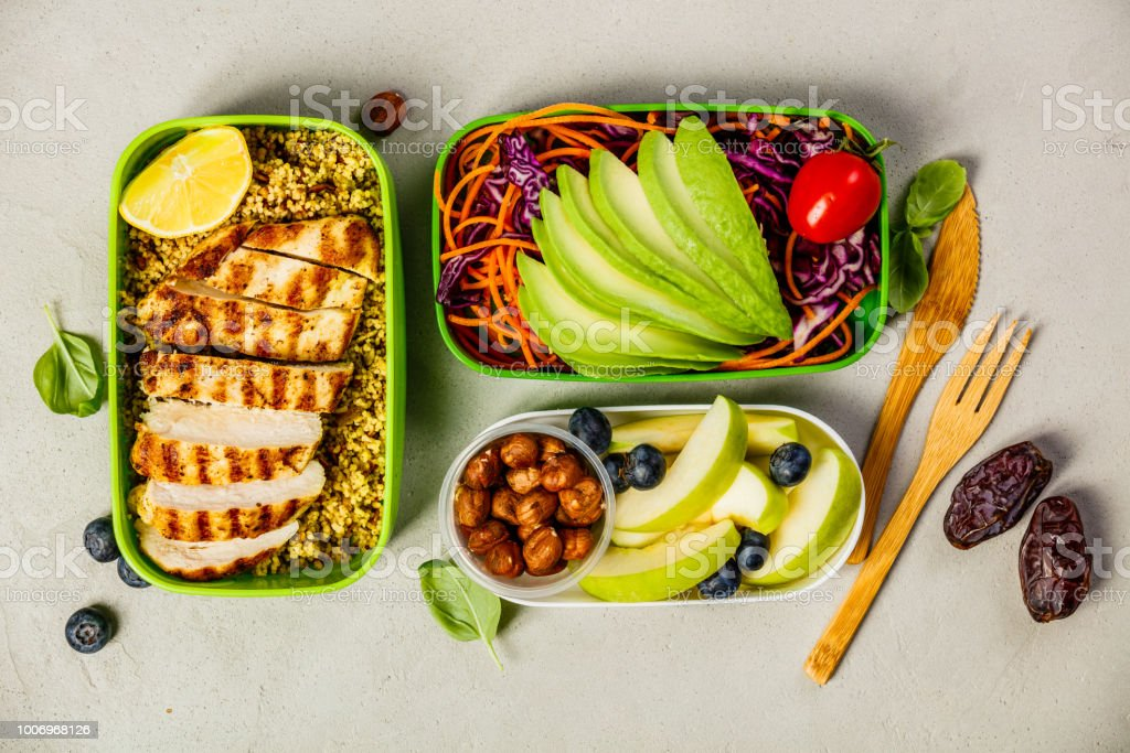 Healthy lunch in boxes royalty-free stock photo