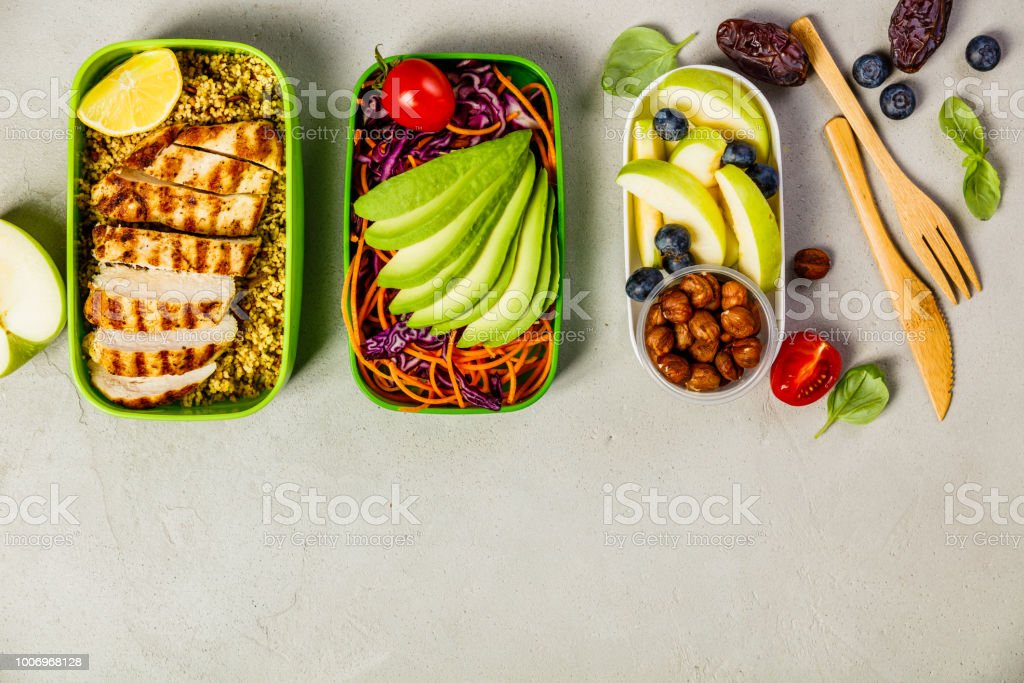 Healthy lunch in boxes stock photo
