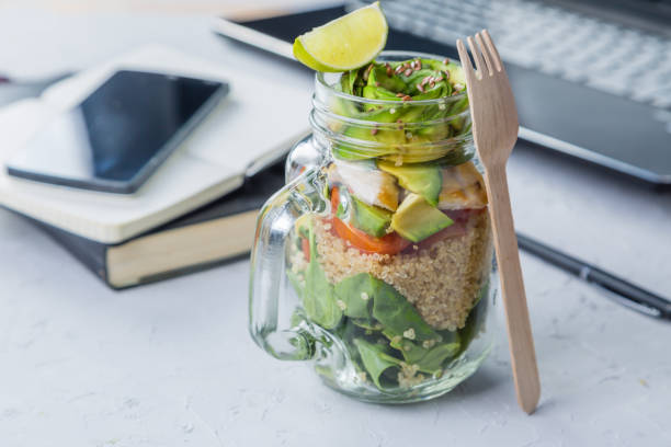 Healthy lunch in glass jar stock photo