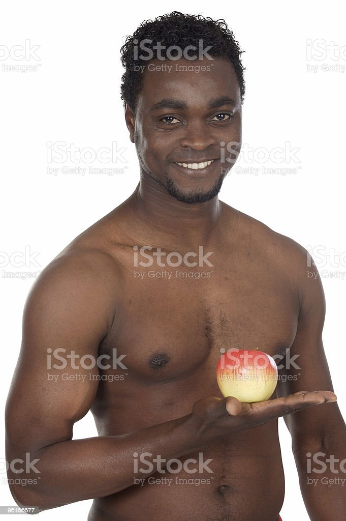 Healthy man with apple royalty-free stock photo