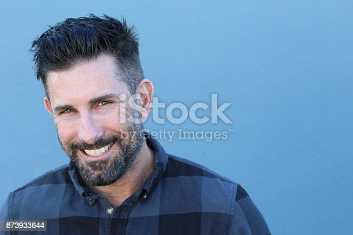 istock Healthy mature man smiling close up 873933644