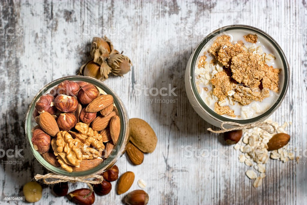 Healthy meal - breakfast full of vitamins and minerals stock photo