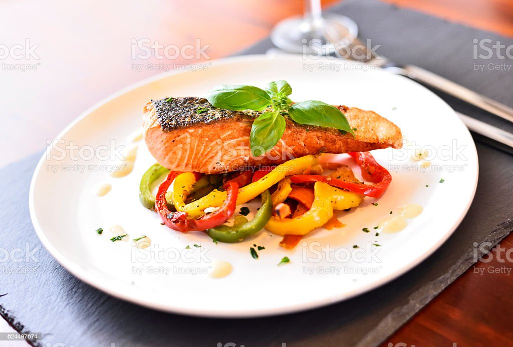 Healthy meal, decorated with basil leaf stock photo