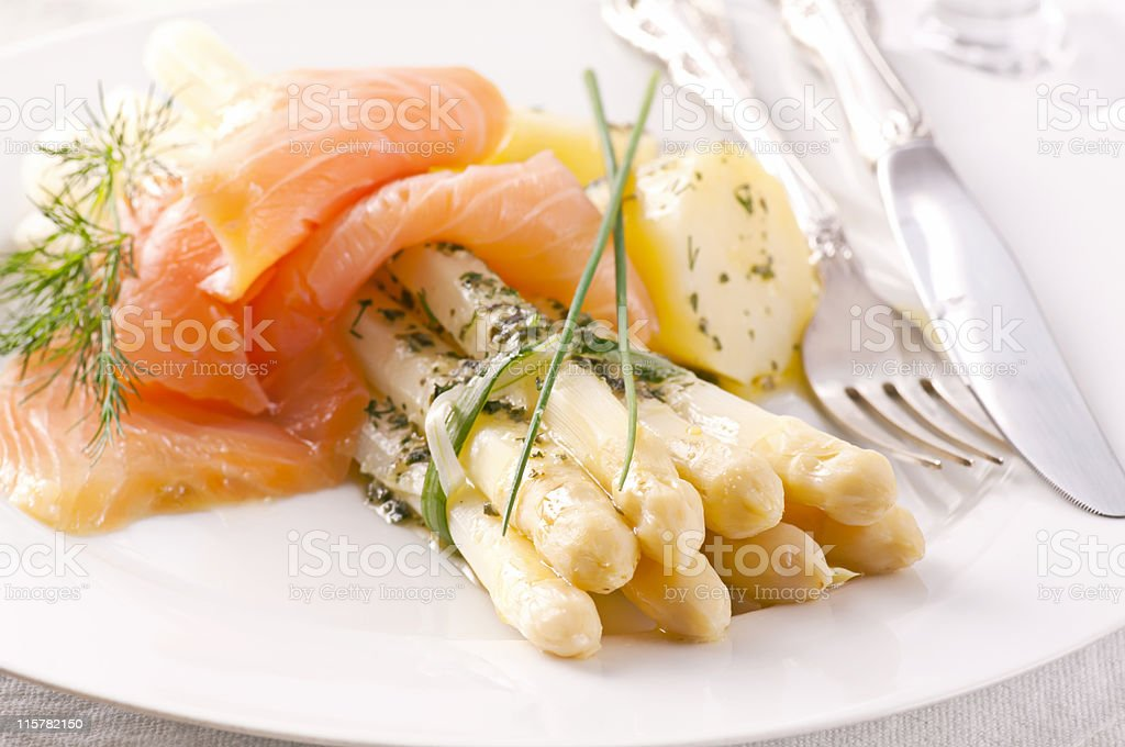 A healthy meal of salmon with asparagus stock photo