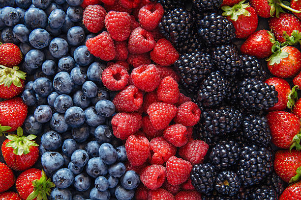 Healthy mixed fruit and ingredients from top view stock photo