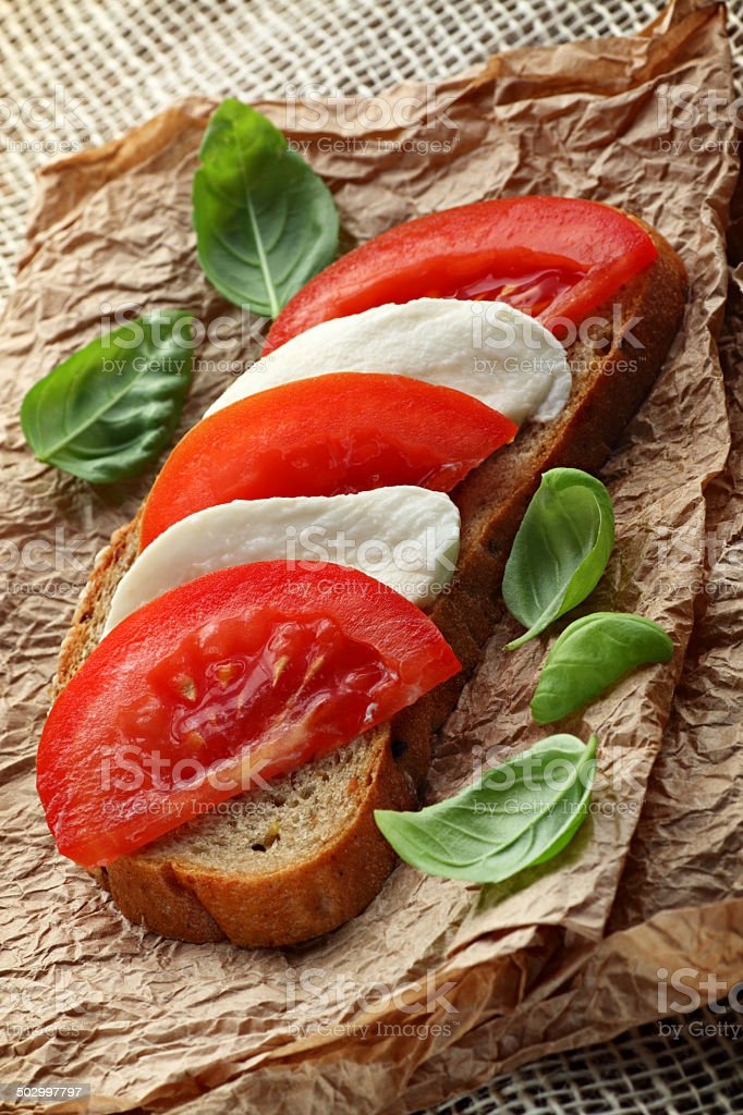Healthy mozzarella sandwich stock photo