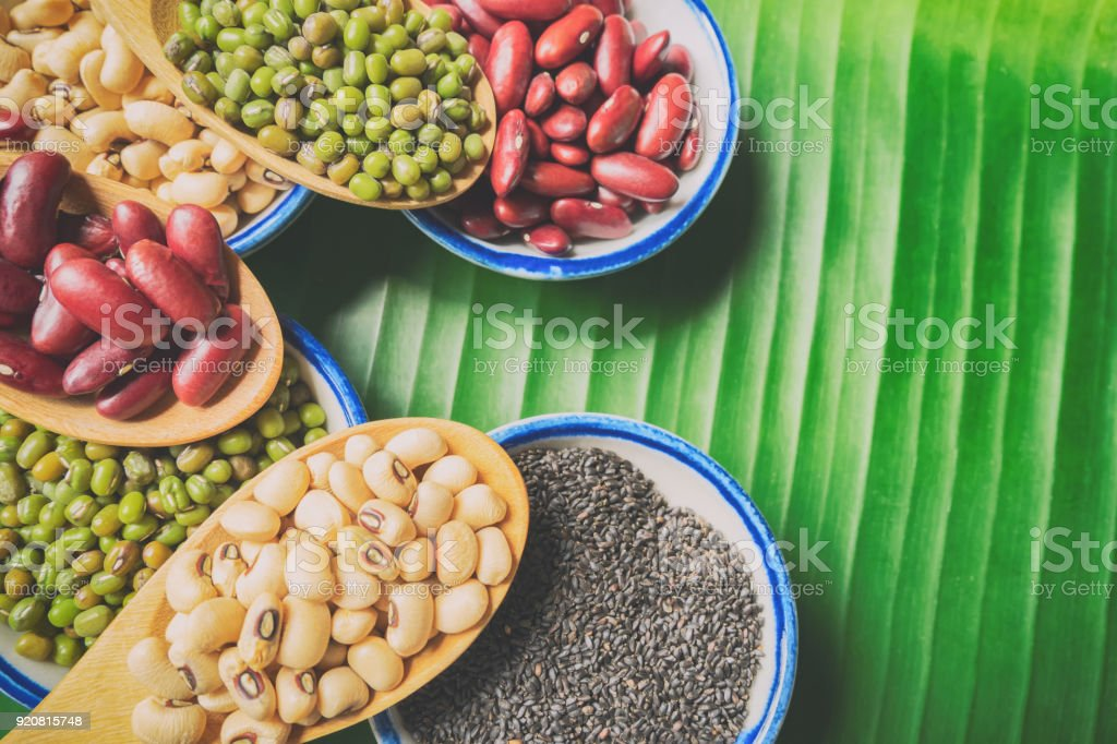 Healthy natural diet beans. Above view healthy food mix beans and free space used for add message. stock photo