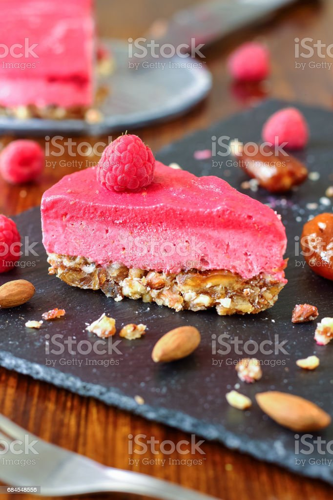 Healthy No Bake Icebox Cake with Raspberries stock photo