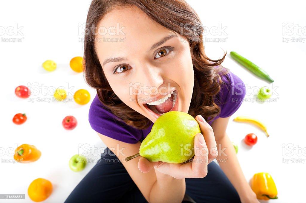 Gesunde Ernährung-Junge Frau mit Früchten – Foto