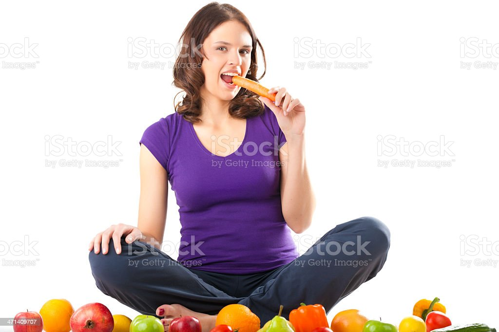 Healthy nutrition - young woman with fruits royalty-free stock photo