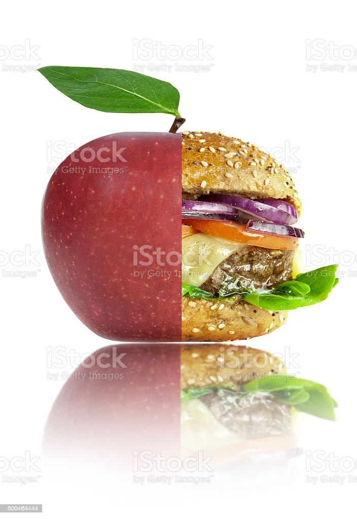 Healthy or unhealthy food lifestyle choices concept stock photo