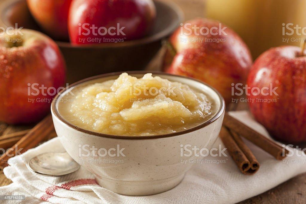 Healthy Organic Applesauce with Cinnamon stock photo
