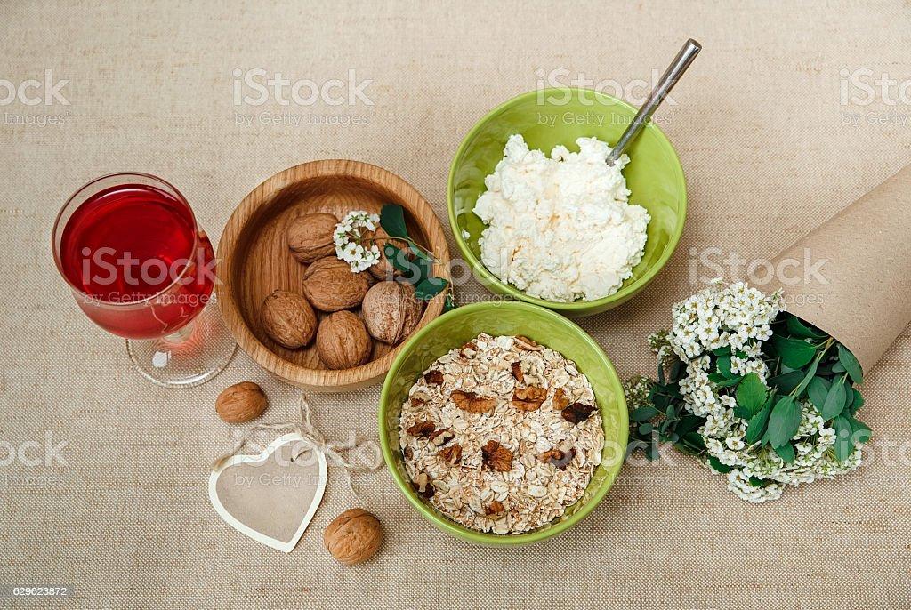 Healthy Organic Breakfast.Walnuts,Oatmeal,Cheese Red Drink.Wish Card stock photo